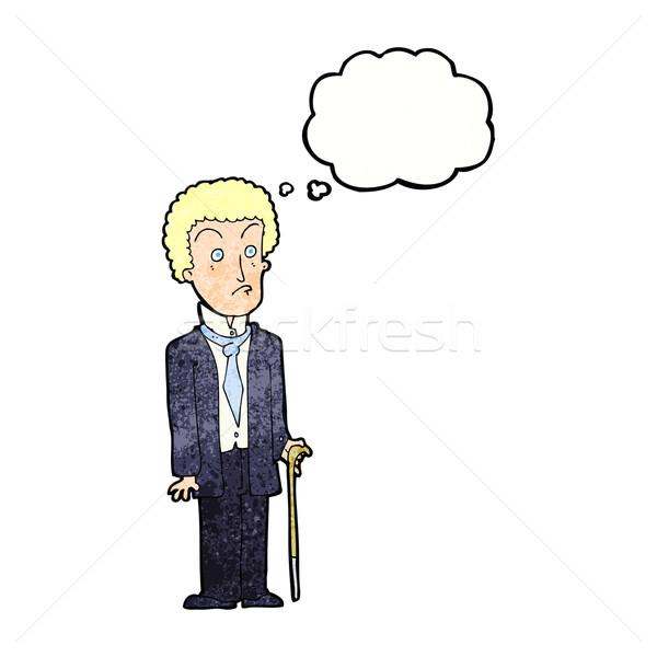 Desenho animado infeliz cavalheiro balão de pensamento mão homem Foto stock © lineartestpilot
