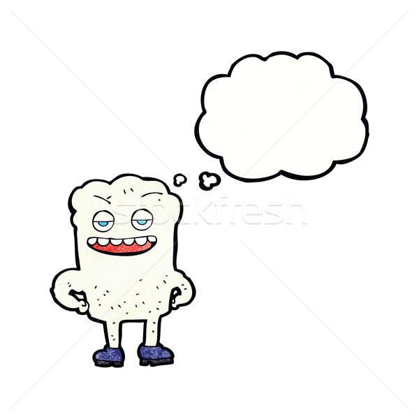 Cartoon dente guardando bolla di pensiero mano faccia Foto d'archivio © lineartestpilot