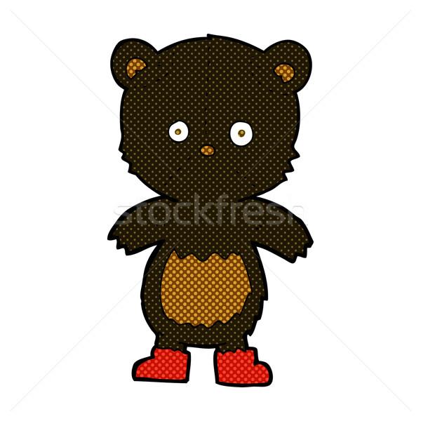 comic cartoon black bear cub Stock photo © lineartestpilot