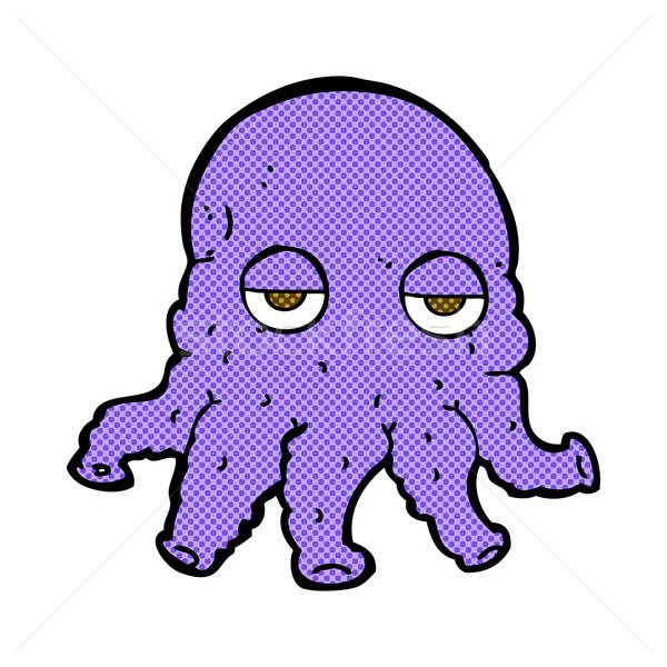 Fumetto cartoon straniero calamari faccia retro Foto d'archivio © lineartestpilot
