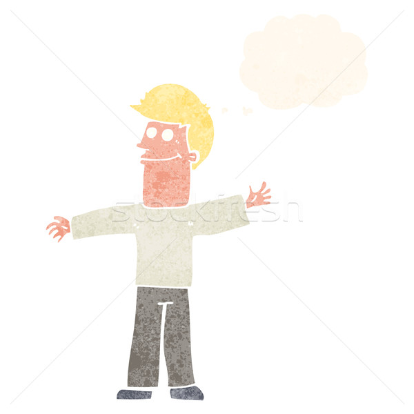 cartoon happy man with thought bubble Stock photo © lineartestpilot