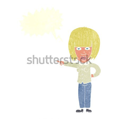 cartoon woman telling off with thought bubble Stock photo © lineartestpilot