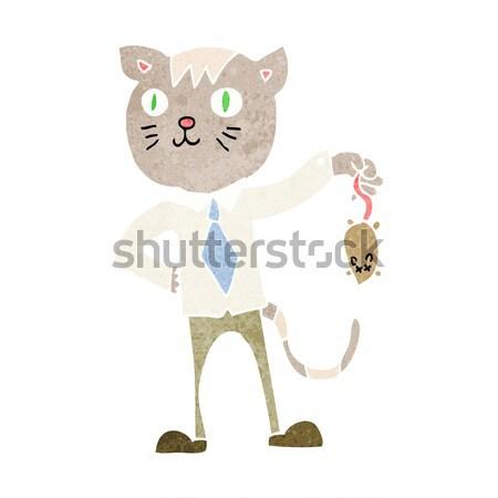 Cartoon business cat morti mouse bolla di pensiero Foto d'archivio © lineartestpilot