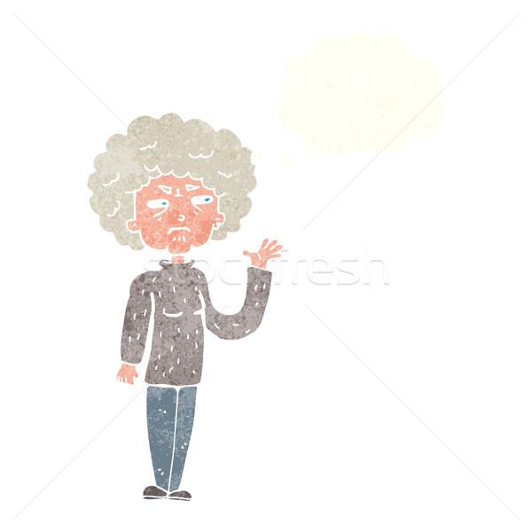 Cartoon infastidito vecchia bolla di pensiero donna Foto d'archivio © lineartestpilot