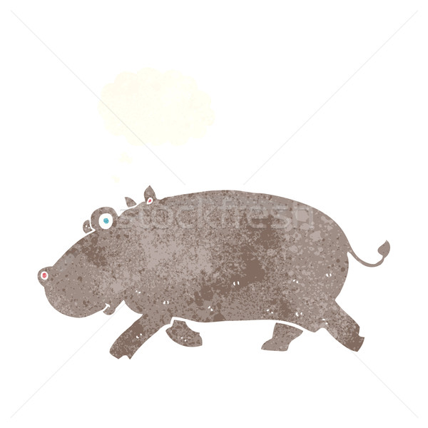 cartoon hippopotamus with thought bubble Stock photo © lineartestpilot