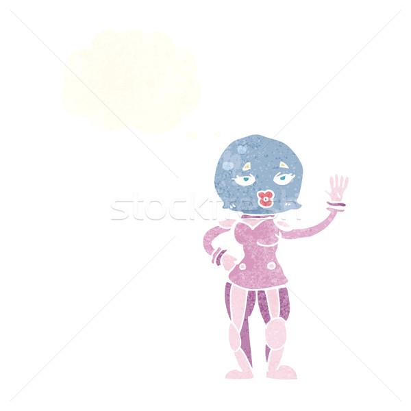 Cartoon femminile astronauta bolla di pensiero ragazza mano Foto d'archivio © lineartestpilot