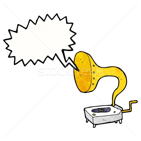 cartoon gramophone with speech bubble Stock photo © lineartestpilot