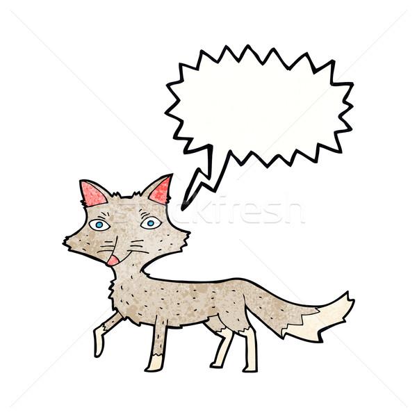 Karikatür küçük kurt konuşma balonu el dizayn Stok fotoğraf © lineartestpilot
