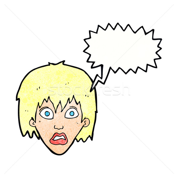 Cartoon bange vrouw tekstballon hand ontwerp Stockfoto © lineartestpilot