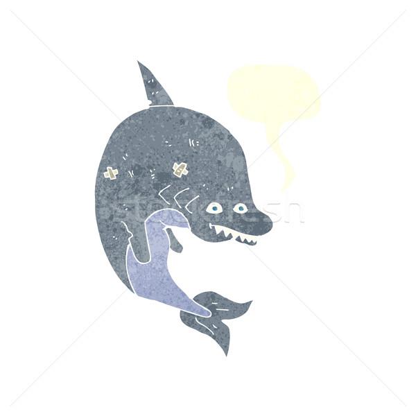Desen animat rechin bule de vorbire mână proiect artă Imagine de stoc © lineartestpilot