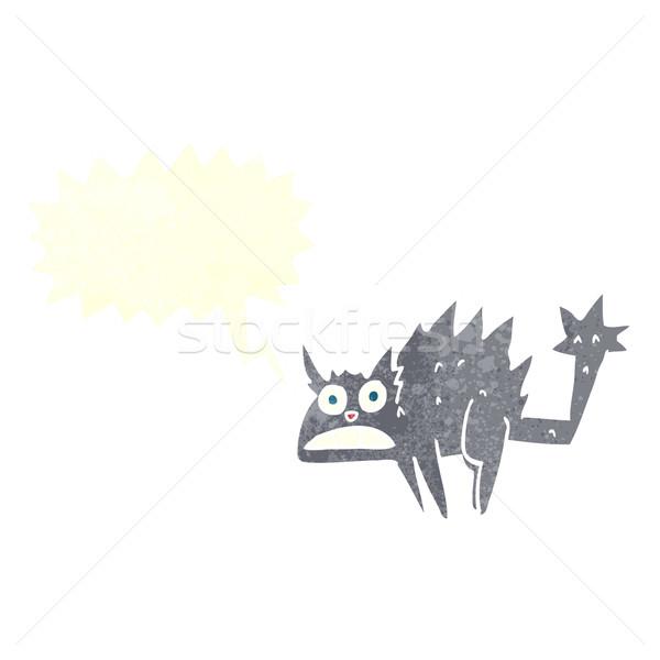 漫画 驚いた 黒猫 吹き出し 手 猫 ストックフォト © lineartestpilot