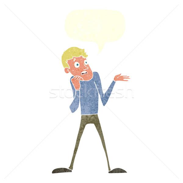 Cartoon нервный человека речи пузырь стороны дизайна Сток-фото © lineartestpilot