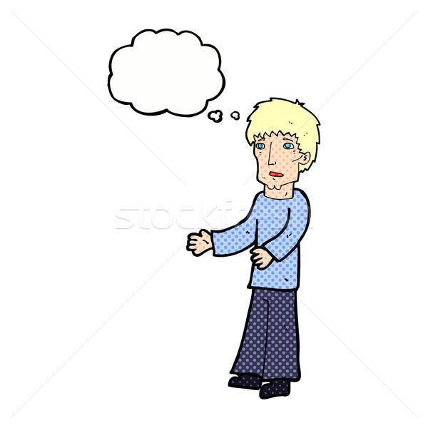 Rajz férfi magyaráz gondolatbuborék kéz terv Stock fotó © lineartestpilot