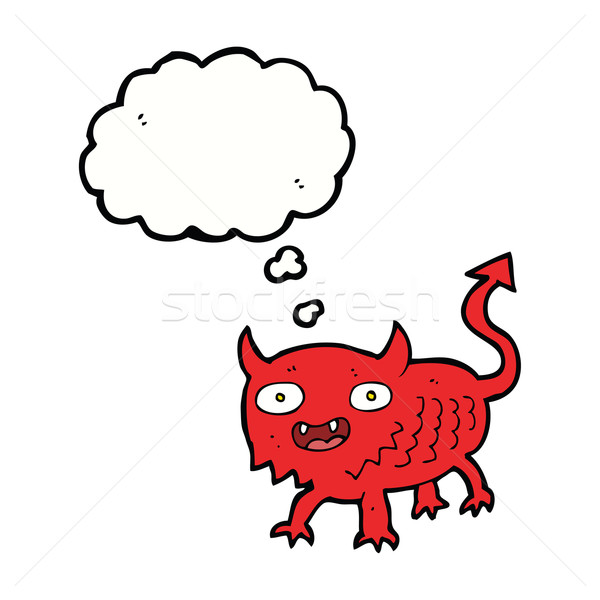 cartoon little demon with thought bubble Stock photo © lineartestpilot