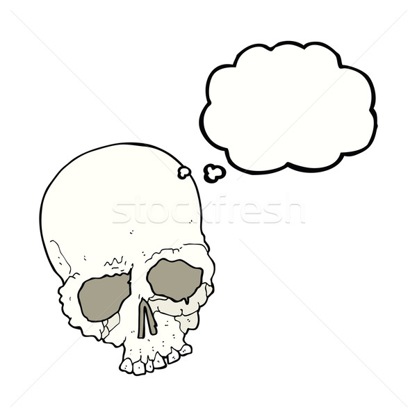 cartoon spooky old skull with thought bubble Stock photo © lineartestpilot