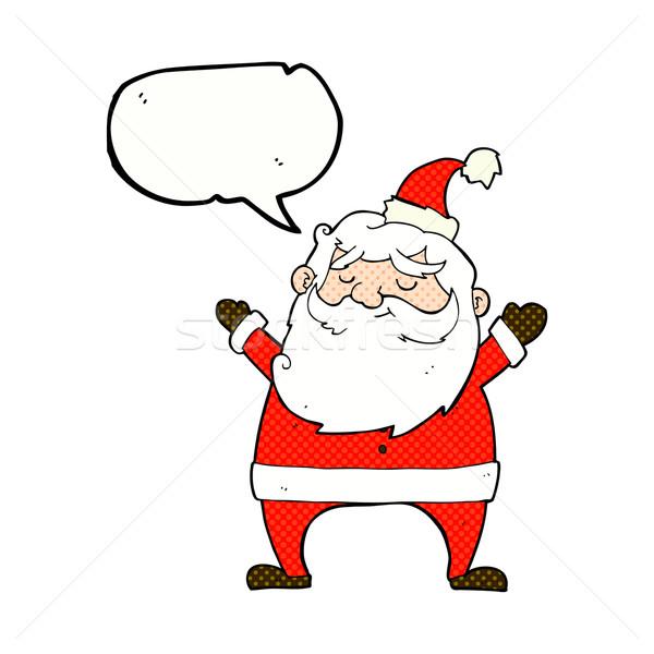 jolly santa cartoon with speech bubble Stock photo © lineartestpilot