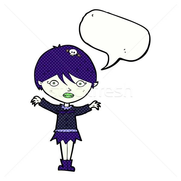 cartoon waving vampire girl with speech bubble Stock photo © lineartestpilot