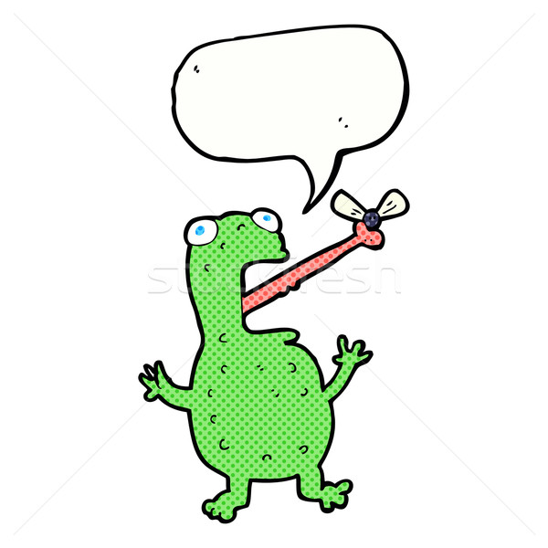 cartoon frog catching fly with speech bubble Stock photo © lineartestpilot