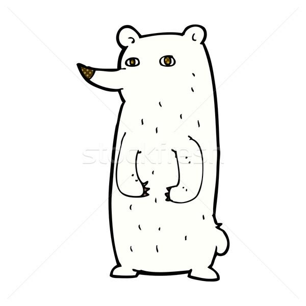 Divertente fumetto cartoon orso polare retro Foto d'archivio © lineartestpilot