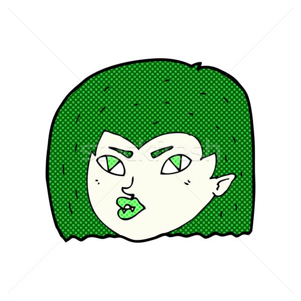 Képregény rajz vámpír arc retro képregény Stock fotó © lineartestpilot