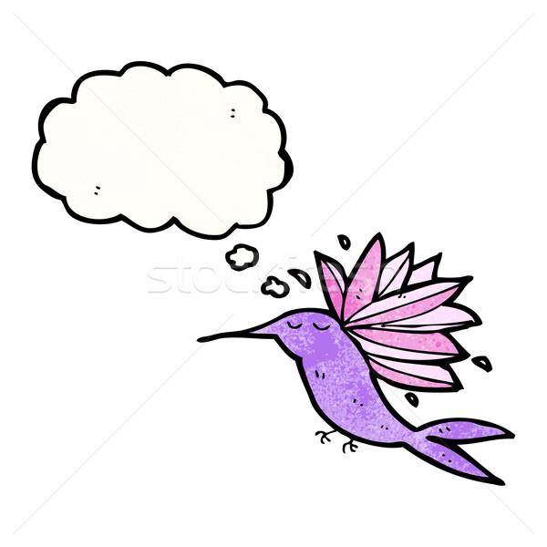 Beija-flor desenho animado textura mão feliz desenho Foto stock © lineartestpilot