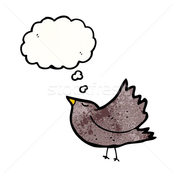 Cartoon linii retro myślenia skrzydełka rysunek Zdjęcia stock © lineartestpilot