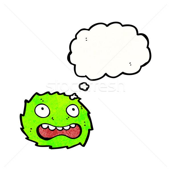 Verde peloso mostro cartoon faccia retro Foto d'archivio © lineartestpilot