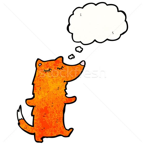 Zeki tilki karikatür Retro balon çizim Stok fotoğraf © lineartestpilot