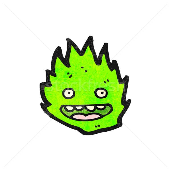 Desenho animado verde chama espírito fogo arte Foto stock © lineartestpilot