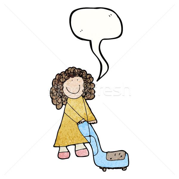 図面 女性 真空掃除機 レトロな 漫画 テクスチャ ストックフォト © lineartestpilot