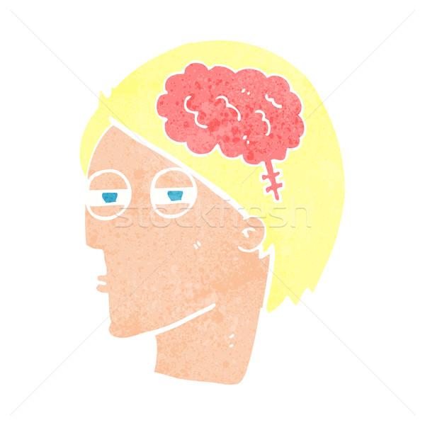 Cartoon man denken voorzichtig ontwerp kunst Stockfoto © lineartestpilot