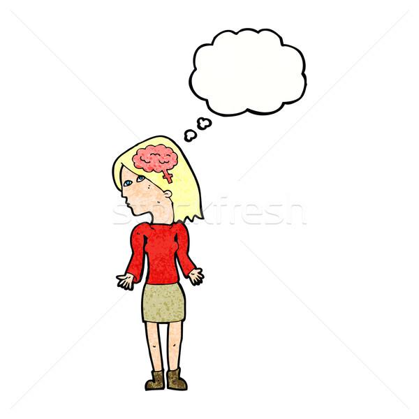 Karikatür zeki kadın omuzlar düşünce balonu el Stok fotoğraf © lineartestpilot