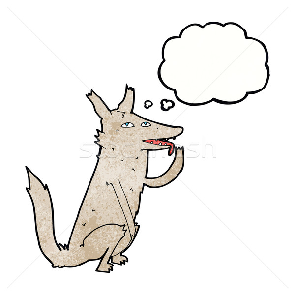 cartoon wolf licking paw with thought bubble Stock photo © lineartestpilot