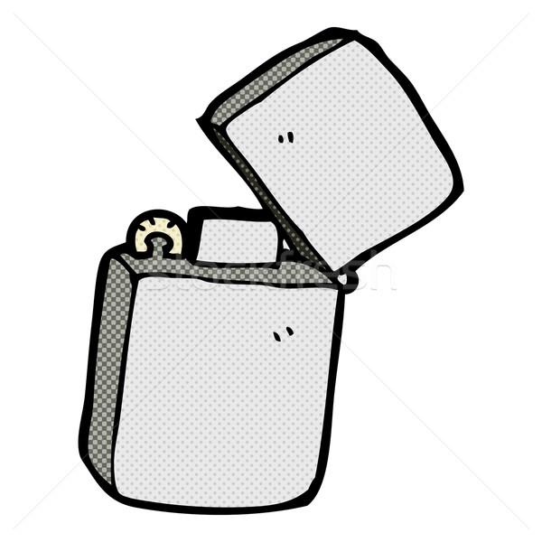 Cômico desenho animado metal isqueiro retro Foto stock © lineartestpilot