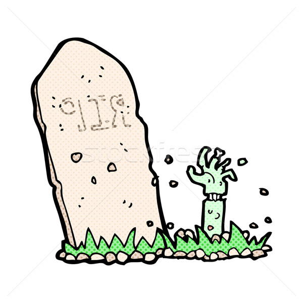 comic cartoon zombie rising from grave Stock photo © lineartestpilot