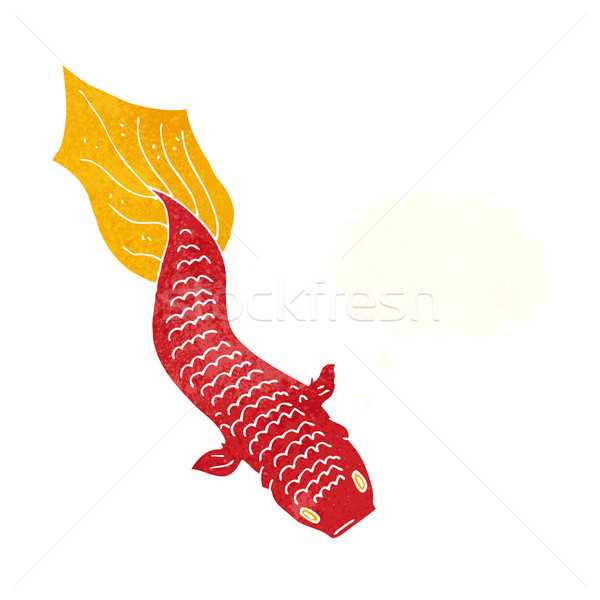 Cartoon vis gedachte bel hand ontwerp dieren Stockfoto © lineartestpilot