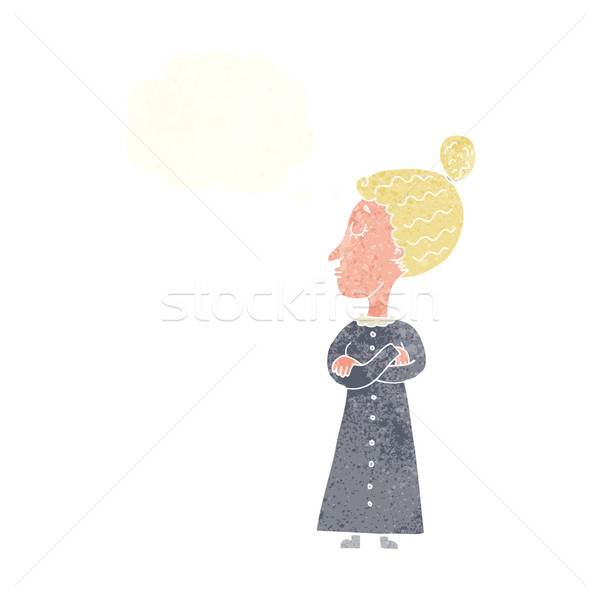 cartoon strict victorian teacher with thought bubble Stock photo © lineartestpilot