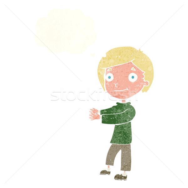 Cartoon bubble myśl człowiek szczęśliwy sztuki Zdjęcia stock © lineartestpilot