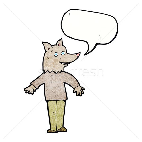 Cartoon счастливым оборотень речи пузырь стороны человека Сток-фото © lineartestpilot
