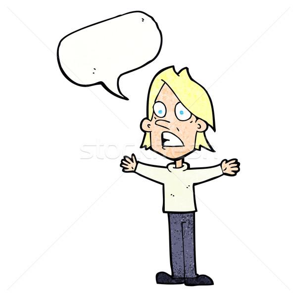 Cartoon asustado hombre bocadillo mano diseno Foto stock © lineartestpilot