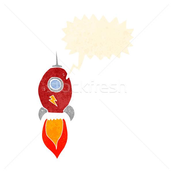 Cartoon космический корабль речи пузырь стороны дизайна искусства Сток-фото © lineartestpilot