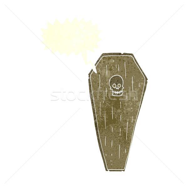 Cartoon гроб речи пузырь стороны дизайна Сток-фото © lineartestpilot