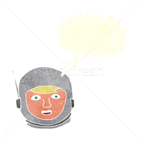 Karikatür astronot kafa konuşma balonu el dizayn Stok fotoğraf © lineartestpilot
