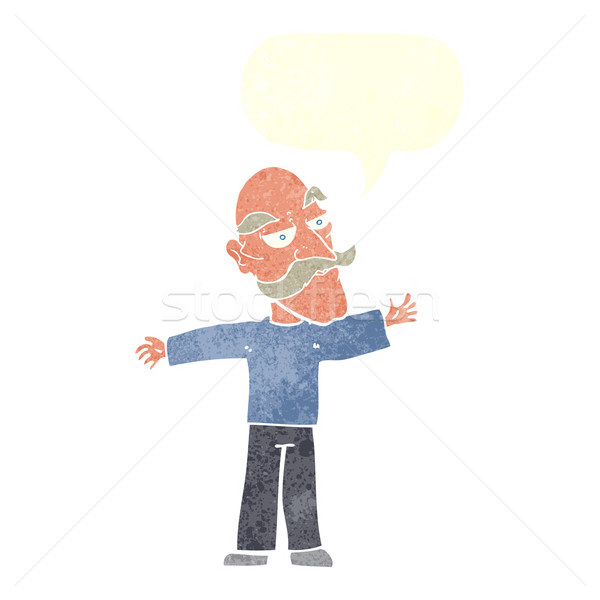 cartoon old man spreading arms wide with speech bubble Stock photo © lineartestpilot