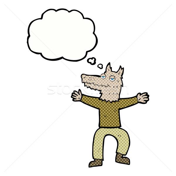 Cartoon lupo uomo bolla di pensiero mano design Foto d'archivio © lineartestpilot