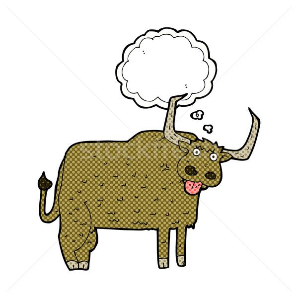 Cartoon peloso mucca bolla di pensiero mano design Foto d'archivio © lineartestpilot