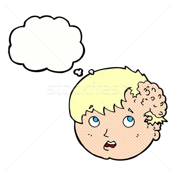 Cartoon ragazzo brutto crescita testa bolla di pensiero Foto d'archivio © lineartestpilot
