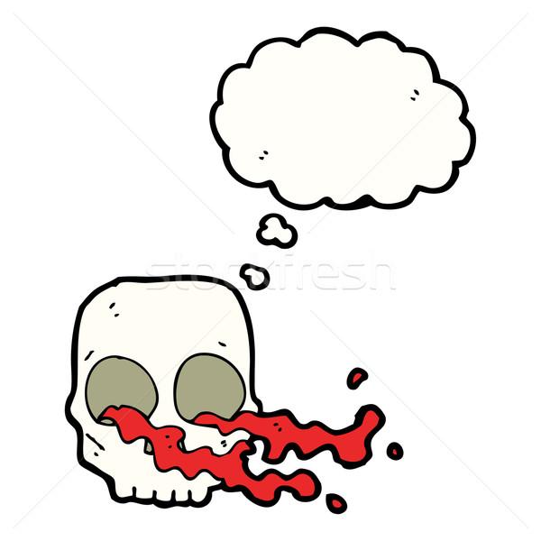 Karikatür kafatası düşünce balonu el dizayn sanat Stok fotoğraf © lineartestpilot