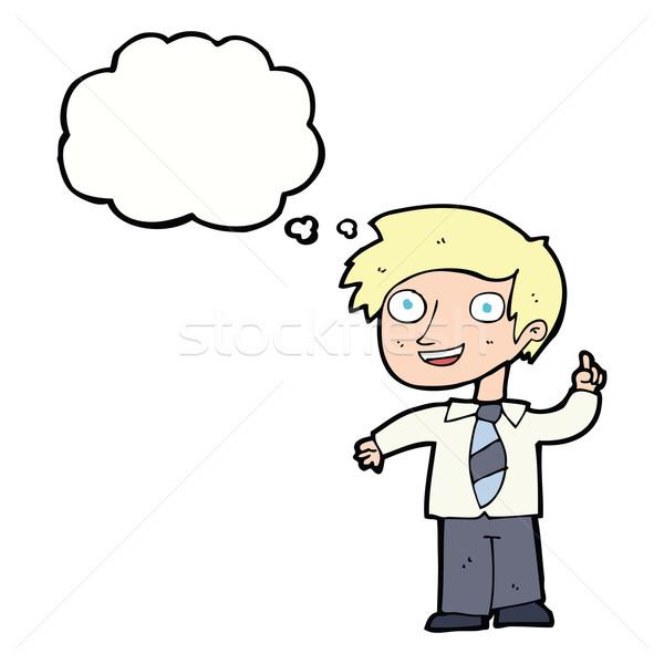 Cartoon schooljongen idee gedachte bel hand school Stockfoto © lineartestpilot