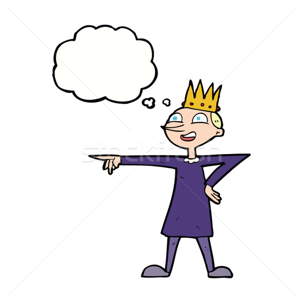 cartoon pointing prince with thought bubble Stock photo © lineartestpilot